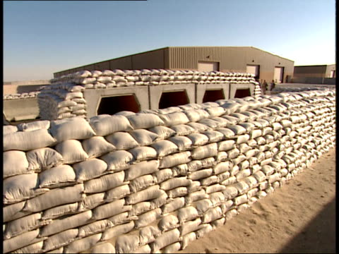 march 31, 1999 montage sandbagged bunker fortifications in as saliyah army base / doha, qatar - camp as sayliyah bildbanksvideor och videomaterial från bakom kulisserna