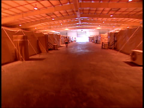 March 31 1999 POV Tented living quarters housed inside large hangar facility in As Saliyah Army Base / Doha Qatar