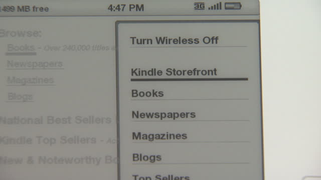 march 5 2009 zo amazon kindle 20 / united states - electronic book stock videos & royalty-free footage
