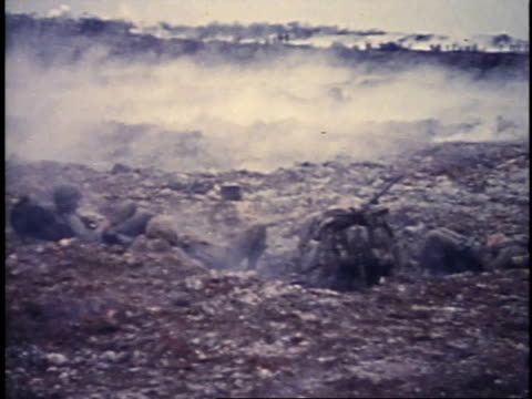 march 6 1945 montage devastation following the battle for iwo jima / japan - battle of iwo jima stock videos and b-roll footage