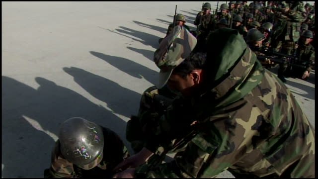 march 9, 2009 afghan national army recruits receiving weapons instruction / afghanistan - afghan national army stock videos & royalty-free footage