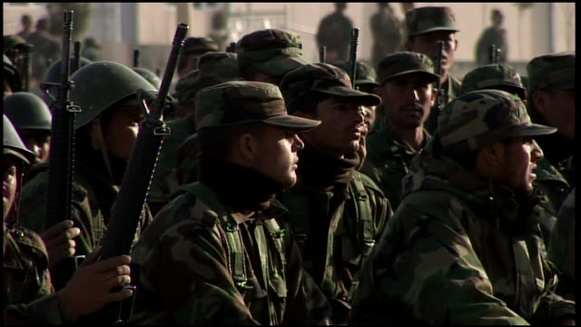 march 9 2009 pan afghan national army trainees crouching in formation / afghanistan - afghan national army stock videos & royalty-free footage