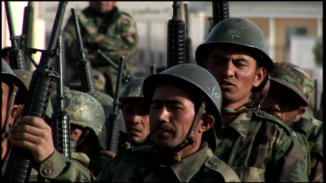 march 9, 2009 afghan national army trainees standing in formation / afghanistan - afghan national army stock videos & royalty-free footage