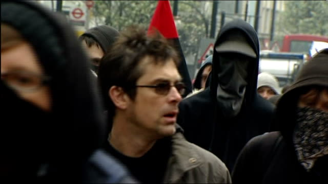 additional powers for police mooted 2632011 england london ext masked 'anarchists' and activists march along street in breakaway group during tuc... - oxford circus stock videos and b-roll footage