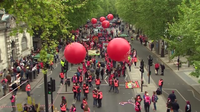 trade union march frances o'grady unite unison tuc pcs members marching along england london embankment sot*** high angle view march with 'unite'... - marching stock videos and b-roll footage