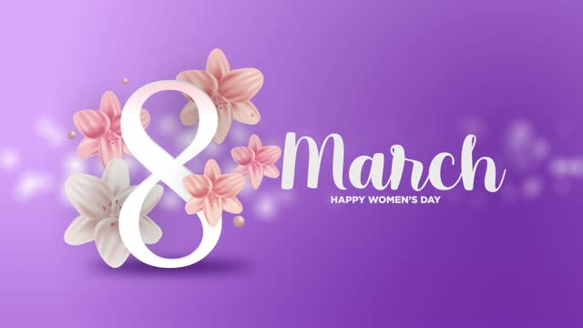 stockvideo's en b-roll-footage met 4k 8 maart happy women's day achtergrond - number 8
