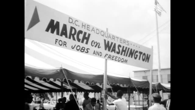 / march on washington headquarters tent / people make placards and signs organizers prepare for the march on washington on august 27 1963 in... - 1963 stock videos & royalty-free footage