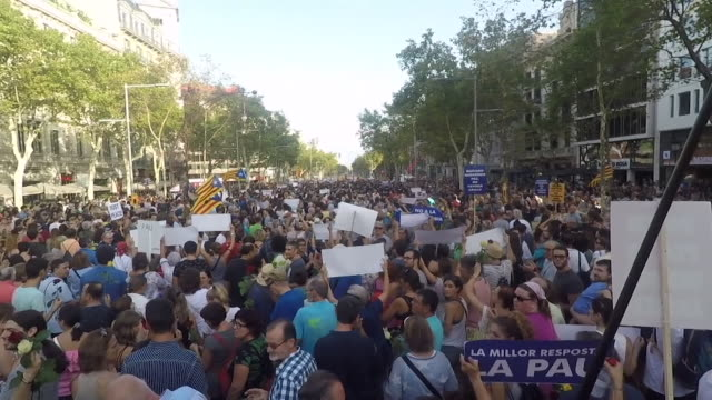 A march taking place in Barcelona in defiance of extremism