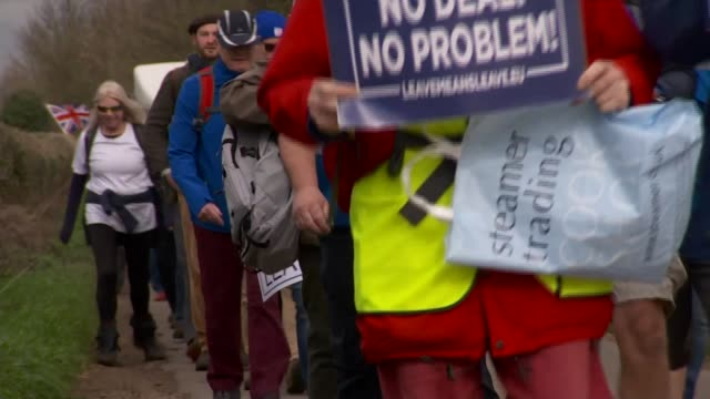 Nottinghamshire EXT Various of Brexit supporters taking part in the March to Leave