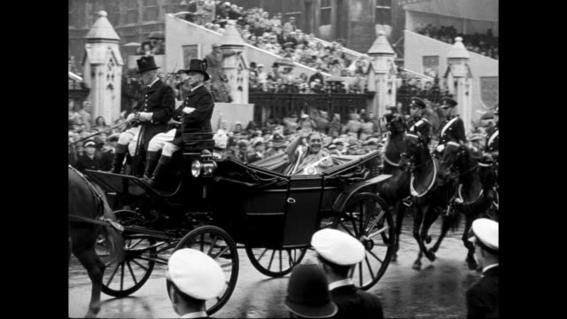 vs marchers of navy army with rifles with bayonets / carriage with unid man in turban / queen of tonga salote tupou iii / carriage / vs carriages /... - coronation of queen elizabeth ii stock videos and b-roll footage
