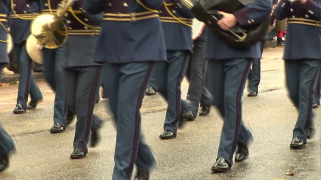 marching band at parade on street - marching band stock videos and b-roll footage