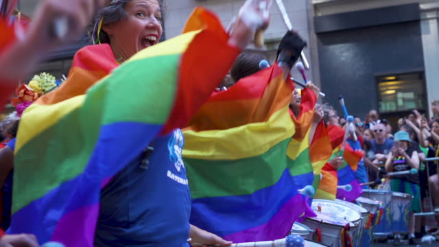 marching band at pride march worldpride nyc 2019 on june 30 2019 in new york city - musician stock videos & royalty-free footage