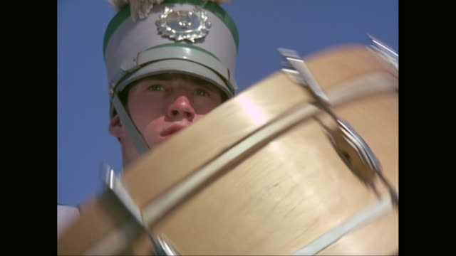 cu marching band drummer playing spinning drum / united states - marching band stock videos and b-roll footage