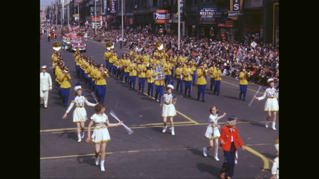 WS Marching band parade on street in tulip festival / United States