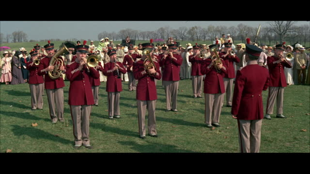 ws marching band practicing playing, standing on field - marching band stock videos and b-roll footage