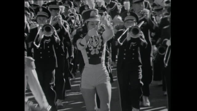 marching band with majorette - 1961 stock videos & royalty-free footage