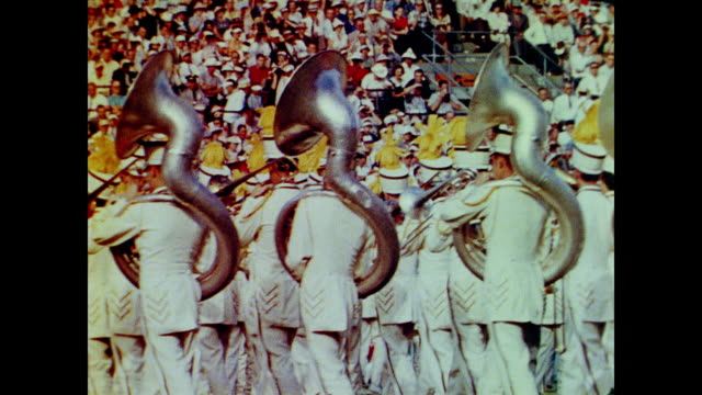 1958 marching bands at a football game - cheerleader stock videos & royalty-free footage