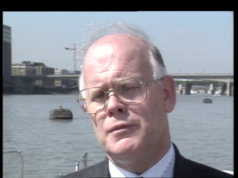 safety airv river thames airv southwark bridge bridges over river thames as seen from dredger intvw peter chambers port of london authority studio... - marchioness stock videos and b-roll footage