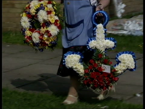'marchioness' captain funeral 'marchioness' captain funeral **** for england london east ham mourners along with wreaths to home of marchioness... - marchioness stock videos and b-roll footage