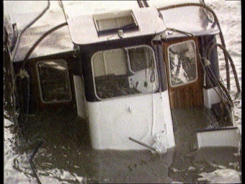 inquest to be reopened lib august 1989 england london ext pleasure boat marchioness half submerged in thames after accident tilt up ditto name plate... - marchioness stock videos and b-roll footage
