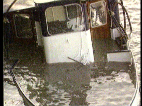 inquest to be reopened tx august 1989 england london ext pleasure boat marchioness half submerged in thames after accident tilt up ditto end lib - marchioness stock videos and b-roll footage