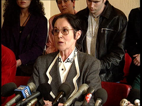 inquest verdict int relatives of victims seated at press conference margaret lockwoodcroft press conference sot our struggle over the last 5 years... - croft stock videos & royalty-free footage