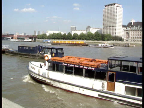 'marchioness' report itn london ms 'hurlingham' riverboat along river thames rl - marchioness stock videos and b-roll footage