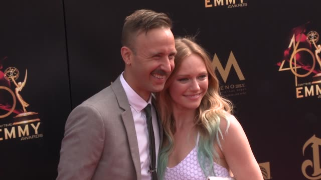 marci miller and ryan matteson at the 2019 daytime emmy awards at pasadena civic center on may 05 2019 in pasadena california - daytime emmy preisverleihung stock-videos und b-roll-filmmaterial