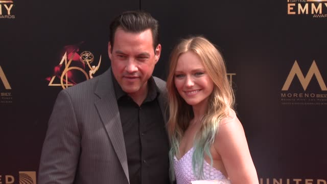 marci miller and tyler christopher at the 2019 daytime emmy awards at pasadena civic center on may 05 2019 in pasadena california - daytime emmy preisverleihung stock-videos und b-roll-filmmaterial