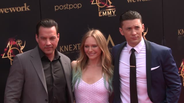 marci miller tyler christopher and billy flynn at the 2019 daytime emmy awards at pasadena civic center on may 05 2019 in pasadena california - daytime emmy preisverleihung stock-videos und b-roll-filmmaterial