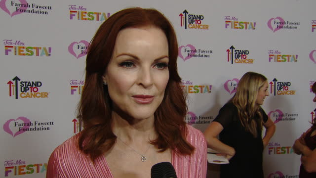 """interview marcia cross on the event at the farrah fawcett foundation's """"texmex fiesta"""" in los angeles ca - farrah fawcett stock videos and b-roll footage"""