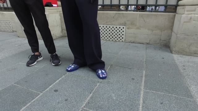 marco manni and simone monguzzi wear a total look by gucci as they arrive for the maison margiela menswear fashion show street style paris fashion... - marco marco designer label stock videos and b-roll footage