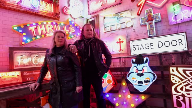 """marcus bracey and linda bracey attend the """"gods own junkyard's"""" exhibition photocall at leadenhall market on may 25, 2021 in london, england. - neon stock videos & royalty-free footage"""