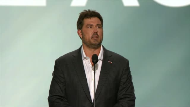 Marcus Luttrell retired Navy SEAL and author of the book Lone Survivor thanks delegates for their standing ovation saying his family was patriotic...