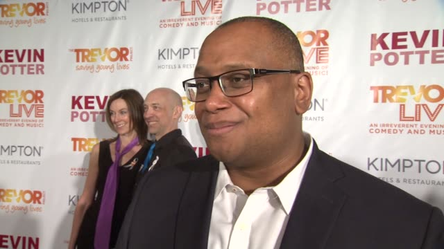 interview marcus mabry talks about how much the world has changed and how he hopes it will continue to get better at the trevor project's trevorlive... - marriott marquis new york stock videos & royalty-free footage