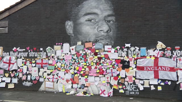 marcus rashford mural in withington covered in messages of love and support after it was defaced with racist graffiti after england lost the euro... - love emotion stock videos & royalty-free footage