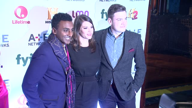 marcus samuelsson gail simmons and max silvestri at 2014 ae networks upfront arrivals at park avenue armory on may 08 2014 in new york city - waffenlager stock-videos und b-roll-filmmaterial