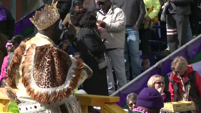 wgno mardi gras parade in new orleans louisiana on february 9 2016 - parade of krewe of rex stock videos & royalty-free footage