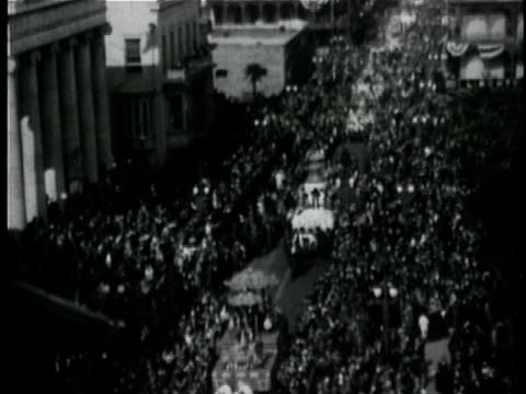 1929 b/w montage mardi gras parade / new orleans, louisiana - new orleans mardi gras stock videos and b-roll footage