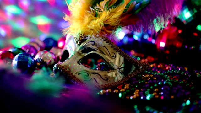 mardi gras, rio carnival mask and colorful decorations. - bead stock videos & royalty-free footage