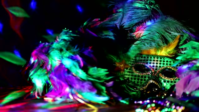 mardi gras, rio carnival mask and colorful decorations. - new orleans mardi gras stock videos and b-roll footage
