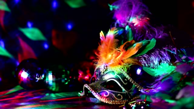 mardi gras, rio carnival mask and colorful decorations. - mardi gras stock videos and b-roll footage