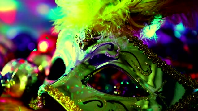 Mardi Gras, Rio carnival mask and colorful decorations.