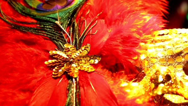 mardi gras, rio carnival masks with feathers and colorful decorations. - new orleans mardi gras stock videos and b-roll footage