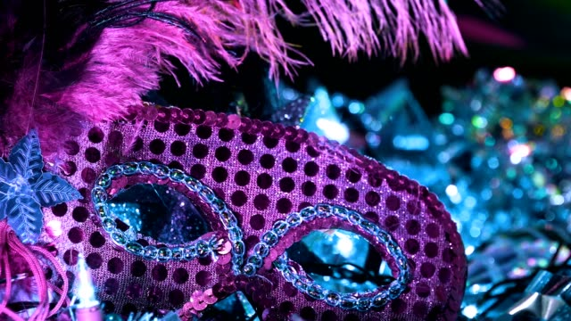 mardi gras, rio carnival masks with feathers and colorful decorations. - mardi gras stock videos and b-roll footage