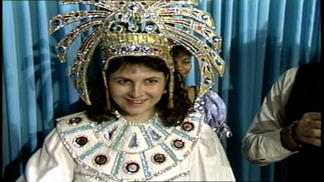 mardi gras woman with bejeweled headdress in new orleans - gras stock videos and b-roll footage