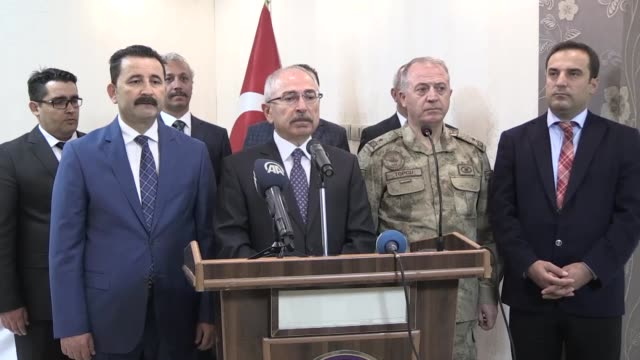 mardin governor mustafa yaman briefs the media after turkish police found a vehicle loaded with over 247 kilograms of explosives and other devices in... - explosive material stock videos & royalty-free footage