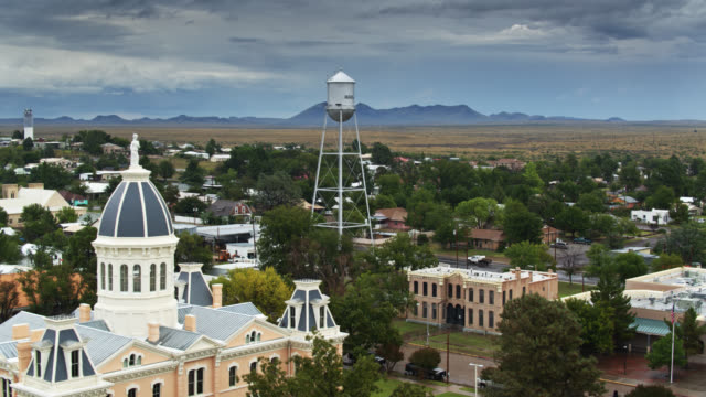 marfa, texas on rainy day - drone shot - small town stock videos & royalty-free footage
