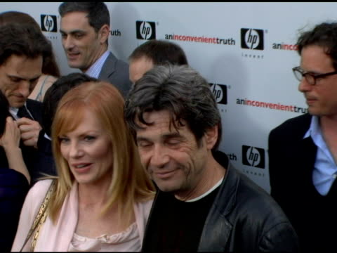 marg helgenberger and alan goldberg at the 'an inconvenient truth' premiere at director's guilld of america in hollywood, california on may 16, 2006. - marg helgenberger stock videos & royalty-free footage