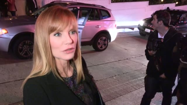 marg helgenberger greets fans at w magazine pre golden globes party at chateau marmont in west hollywood, 01/11/13. - marg helgenberger stock videos & royalty-free footage